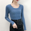 Round Neck Knitted Full Sleeves T-Shirt - Blue
