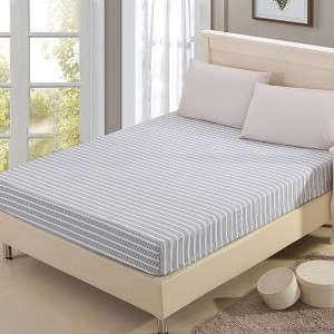 Grey Stripes Print Fitted Bed Sheet With Elastic Band