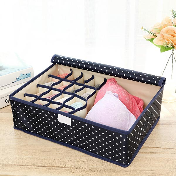 Polka Dots Multi Partition Clothes Storage Box -Dark Blue
