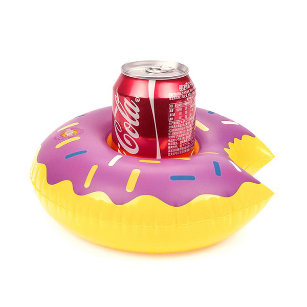Round Inflatable Donut Drink Holder For Pool - Purple