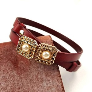 Hook Closure Pearl Fancy Wear Women Belts - Burgundy