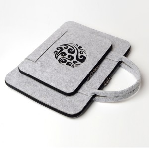 Canvas Engraved Zipper Tablet And Macbook Bags - Grey