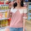 Doll Collar Contrast Half Sleeves T-Shirt - Pink