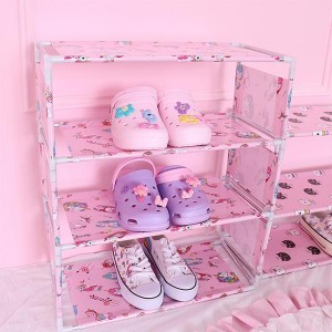 Printed Door Entrance Four Layers Shoes Rack - Pink