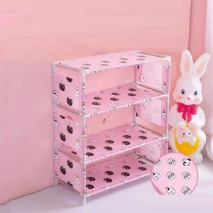 Four Layers Printed Door Entrance Shoe Rack - Pink