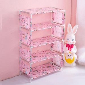 Printed Door Entrance Five Layers Shoes Rack - Pink