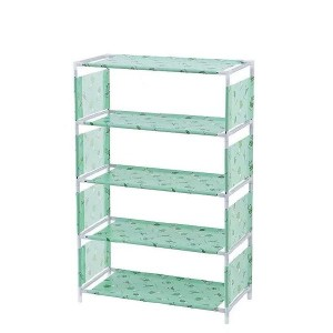 Printed Five Layers Non-woven Shoes Rack - Green