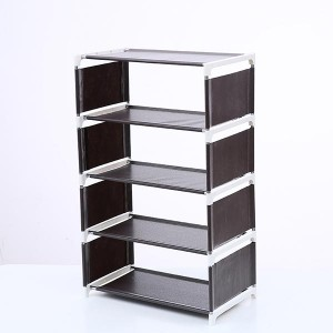 Solid Five Layers Non-woven Shoes Rack - Coffee