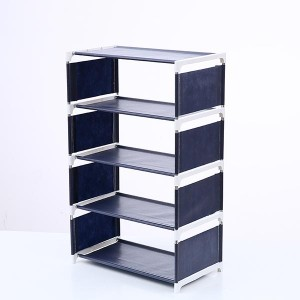 Solid Five Layers Non-woven Shoes Rack - Dark Blue