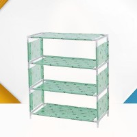Printed Four Layers Non-woven Shoes Rack - Green