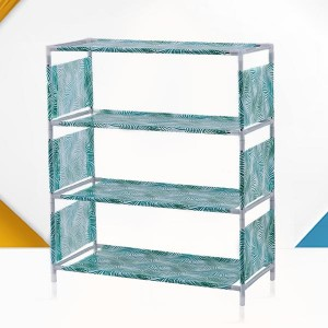 Printed Door Entrance Four Layers Shoe Rack - Green