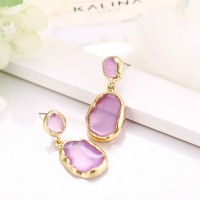 Engraved Stone Gold Plated Party Wear Earrings Pair - Purple