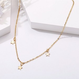 Gold Plated Chain Stars Decorative Necklace