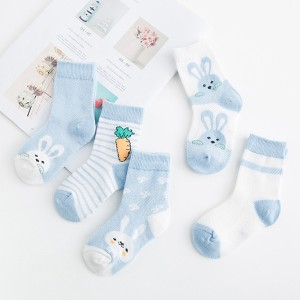 Five Pair Printed Cartoons Children Socks - Blue