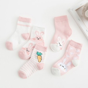 Five Pair Printed Cartoons Children Socks - Pink
