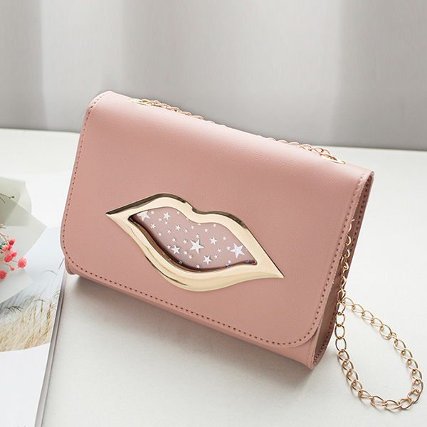 Lip Hollow Clap Chain Strapped Messenger Bag - Pink