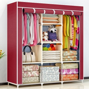Dustproof Three Partition Quality Canvas Wardrobe
