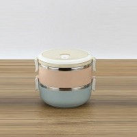 Stainless Steel Round Double Compartment Lunch Box  - Multi