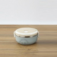 Stainless Steel Round Single Compartment Lunch Box  - Blue