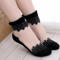 Mesh Pattern Side Borders Ladies Socks - Black
