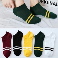 Straps Prints Five Pair Toe Cover Cotton Casual Socks