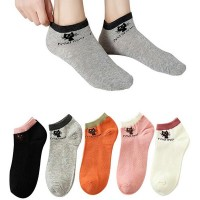 Cat Prints Five Pair Toe Cover Cotton Casual Socks