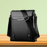 Solid Color Luxury Business Pu Leather Shoulder Bags - Black