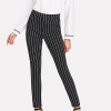 Waist Band Striped Casual Trousers - Black