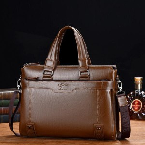 High Quality Pu Leather Shoulder Business Bags - Brown