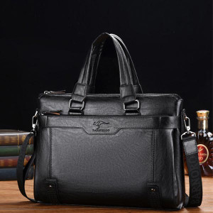 High Quality Pu Leather Shoulder Business Bags - Black