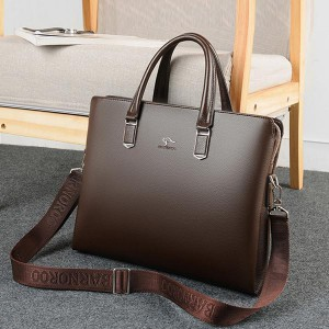 Clever Soft Leather Business Casual Shoulder Bags - Brown