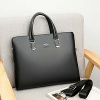 Clever Soft Leather Business Casual Shoulder Bags - Black