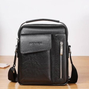 Luxury Pu leather Zipper Business Shoulder Bags - Black