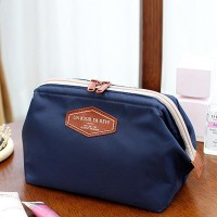 Multi-functional Frog Mouth Women Cosmetic Bags - Dark Blue