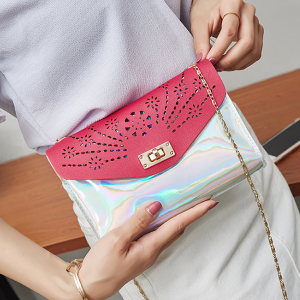 Engraved Floral Rainbow Shiny Shoulder Bags