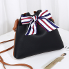 Flared Bow Patched PU Leather Shoulder Bags - Black