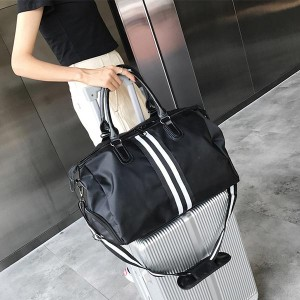 Stripes Pattern Separate Shoe Compartment Travel Bags - Black