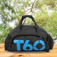 Water Resistant Multi-pockets Traveling Bags - Blue Text