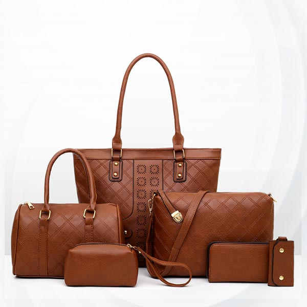 Zipper Soft Surface Ladies Six Piece Women Bag Set - Brown