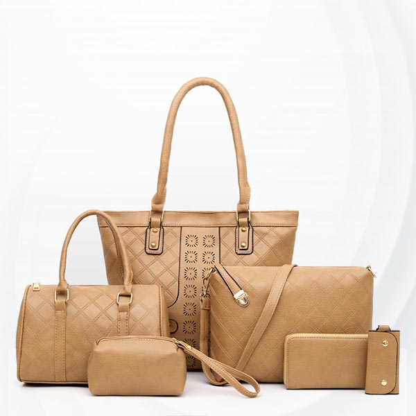 Zipper Soft Surface Ladies Six Piece Women Bag Set - Khaki