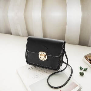 Quality PU Leather Strappy Shoulder Bags - Black