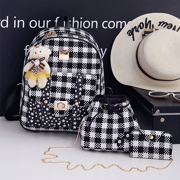 Three Pieces Check Prints Zipper Mini Backpack - Black