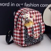 Three Pieces Check Prints Zipper Mini Backpack - Red
