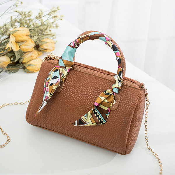 Silk Printed Ribbon Chain Strap Shoulder Bags - Brown