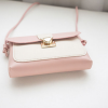Two Contrast Push Button Closure Messenger Bags - Pink