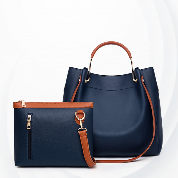 Two Pieces High Quality PU Leather Handbags Set - Blue