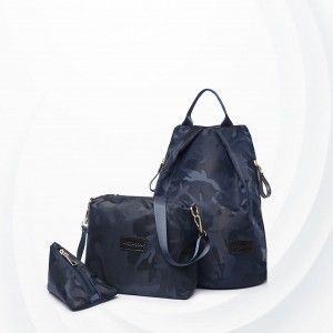 Three Pieces Women Traveller Bags Set - Dark Blue