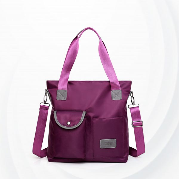 Square Soft Polyester Canvas Ladies Shoulder Bag - Purple
