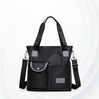 Square Soft Polyester Canvas Ladies Shoulder Bag - Black