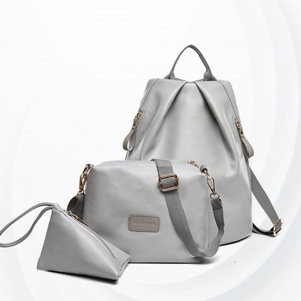 Pu Leather Three-piece Set Mother Child Backpack - Gray